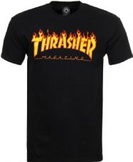 Thrasher T Shirt Flame Logo - Black